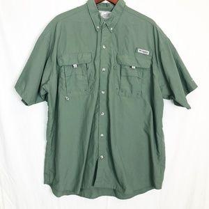 Columbia PFG Hunter Green Button Up Size XXL